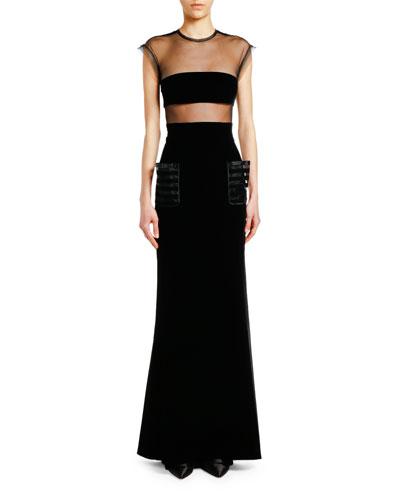 Velvet Cap-Sleeve Gown