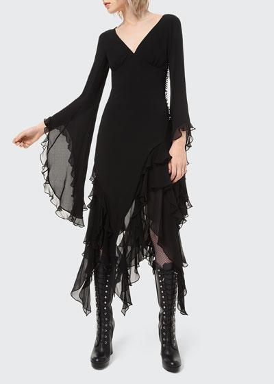 Ruffled Chiffon Bias Midi Dress
