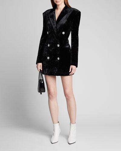 Stretch Velvet Blazer Mini Dress