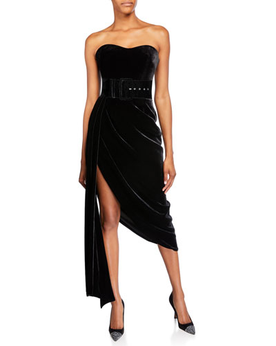 Strapless Velvet Draped-Side Dress