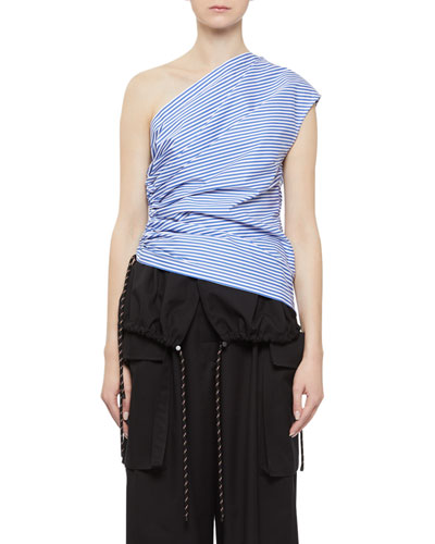 Cezar Stripe One-Shoulder Top with Cinched Side