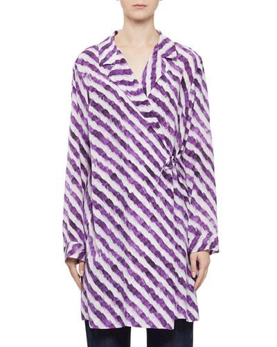 Silk Feather-Striped Wrap Coat