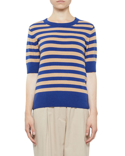 Cashmere Striped Shorts-Sleeve Sweater