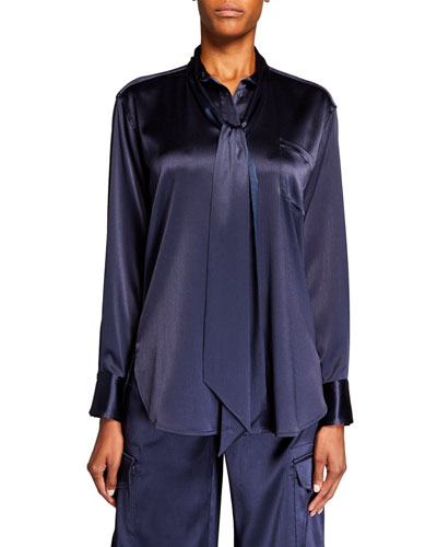 Satin Tie-Neck Button-Front Blouse