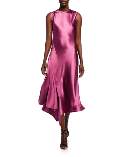 Vanessa Crinkled-Satin Asymmetric Dress