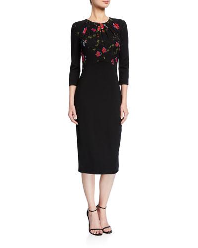 Vine-Print Stretch Ponte Dress