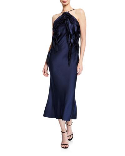 Satin Ruffled-Front Halter Dress