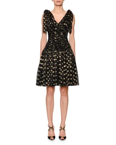 Flutter-Sleeve Fil Coupe Dot Chiffon Dress