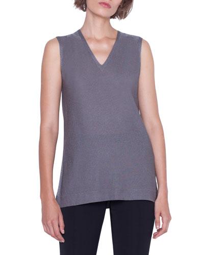 Sleeveless V-Neck Shimmer Silk Knit Pullover