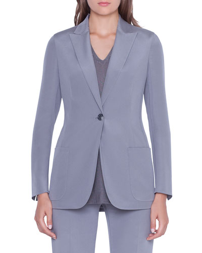 Amandine One-Button Silk Jacket