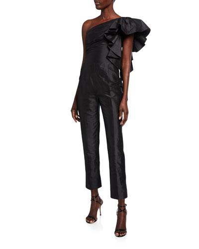 Ruffled Silk-Taffeta One-Shoulder Jumpsuit