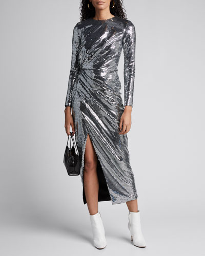 Sequin Long-Sleeve Crewneck Dress
