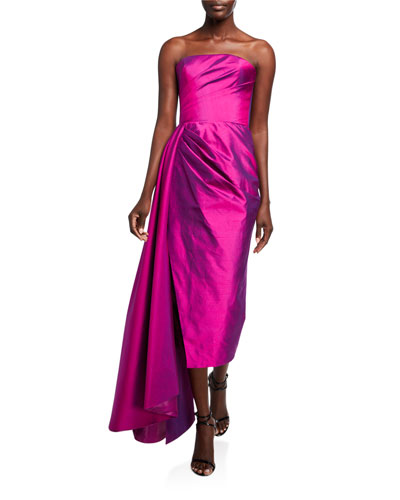 Taffeta Strapless Draped-Waist Dress