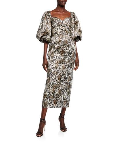 Leopard-Print Puff-Sleeve Dress