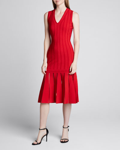 Silk-Knit Sleeveless Pleated Dress