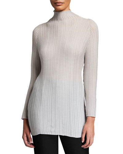 Wooly Pleated Mock-Neck Sweater