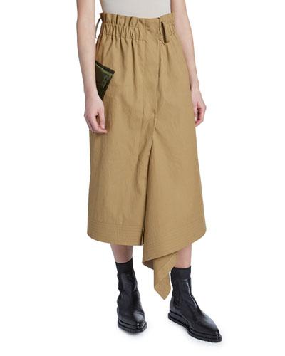 Paperbag-Waist Cargo Midi Skirt