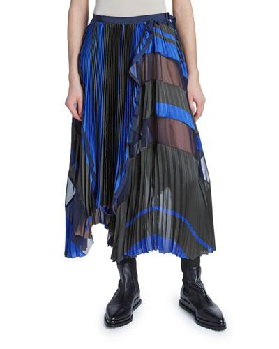 Two-Tone Blanket Print Wrap Skirt