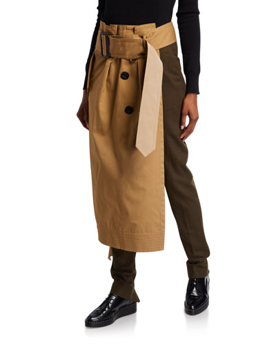 Two-Tone Skirted Trousers