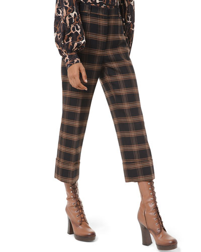 Checked Wool-Crepe Rolled-Cuff Cropped Pants