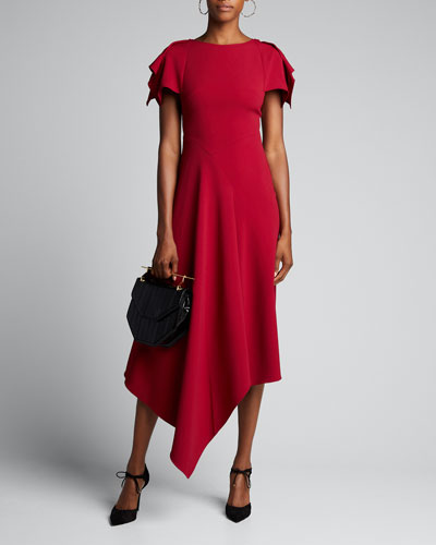 Draped-Front Asymmetric Dress