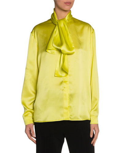 Silk Satin Tie-Neck Blouse