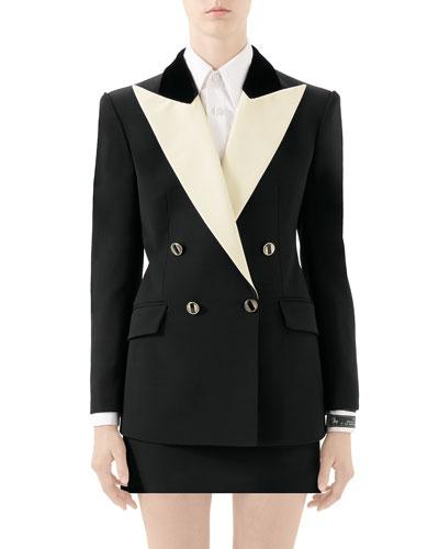 Two-Tone Silk-Wool Cady Tuxedo Jacket