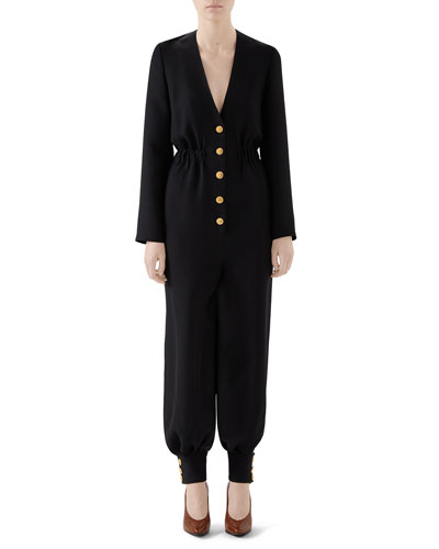 Cady Crepe Cuffed Button-Front Jumpsuit