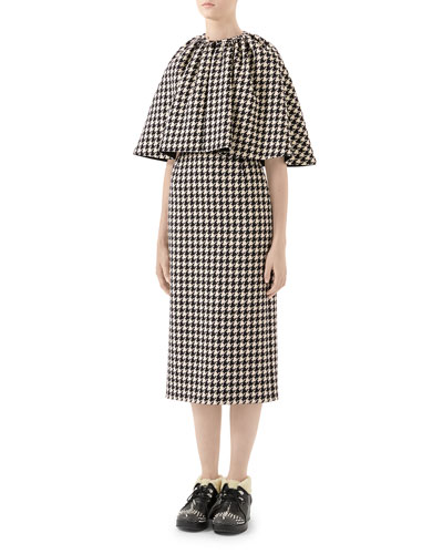 Wool Houndstooth Cocktail Dress