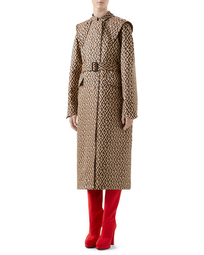 G Rhombus Jacquard Trench Coat with Exaggerated Shoulders
