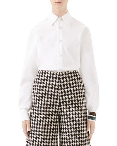 Label-Cuff Button-Front Poplin Shirt