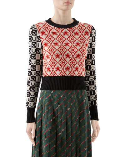 Two-Tone Long-Sleeve Crop Sweater