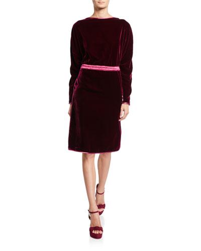 Boat-Neck Velvet Dress