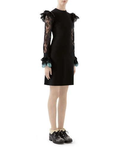 Lace-Sleeve Jersey Dress