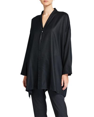 Wool-Cashmere Wide A-Line Shirt