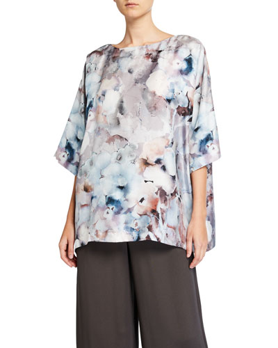Floral-Print Boat-Neck Long Shirt