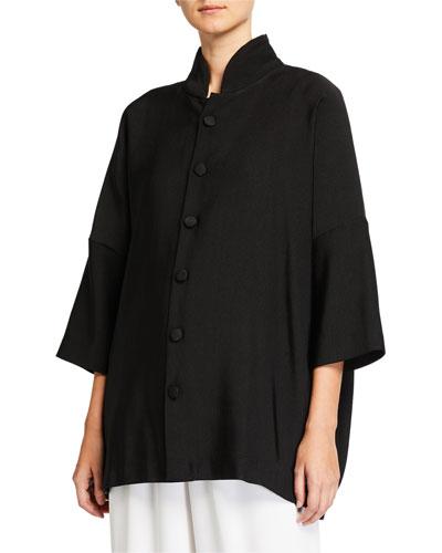 Wool-Silk Sloped Shoulder Jacket