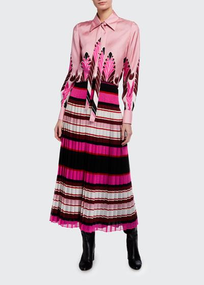 Striped Plisse Midi Skirt