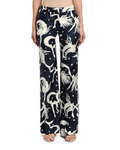 Mermaid Print Silk Wide-Leg Pants