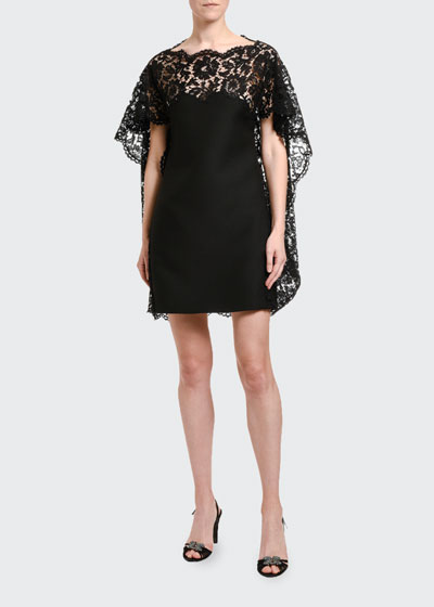 Lace-Cape Shift Dress