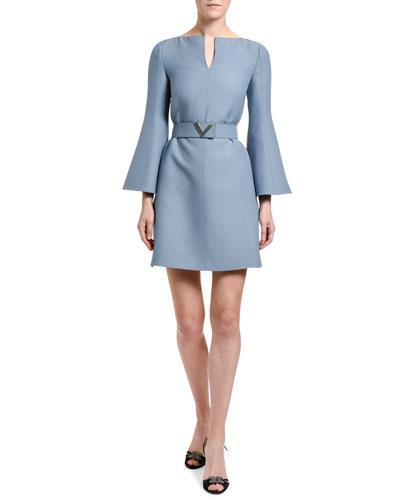 Wool-Silk Belted Bell-Sleeve Dress