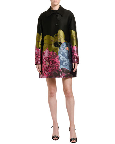 Floral Embroidered Topper Coat