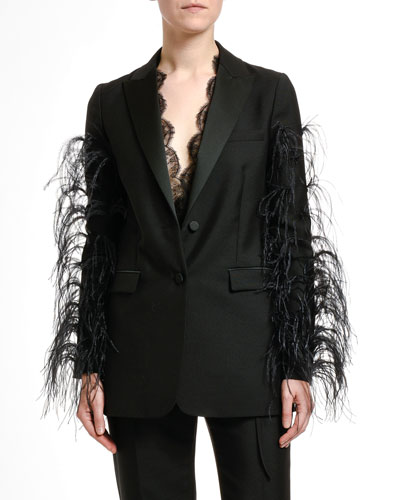 Feather-Trim Wool Blazer Jacket