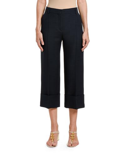 Wool-Silk Wide-Leg Crop Pants