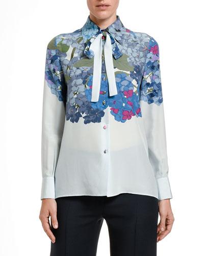 Floral-Print Silk Tie-Neck Shirt