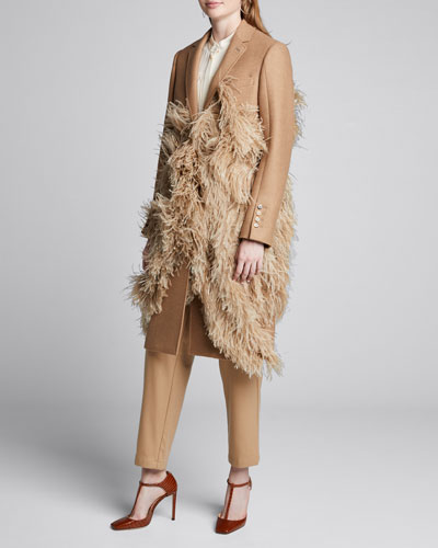 Feather-Trim Camel Hair Coat