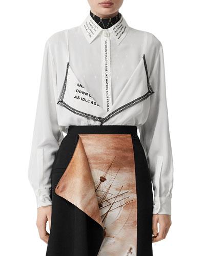 Silk Button-Front Shirt w/ Text