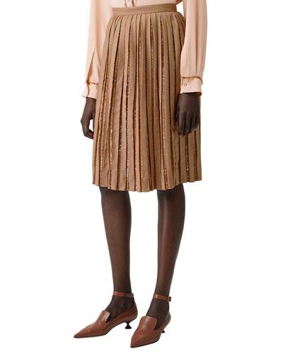 Jeweled Pleated Wool Skirt
