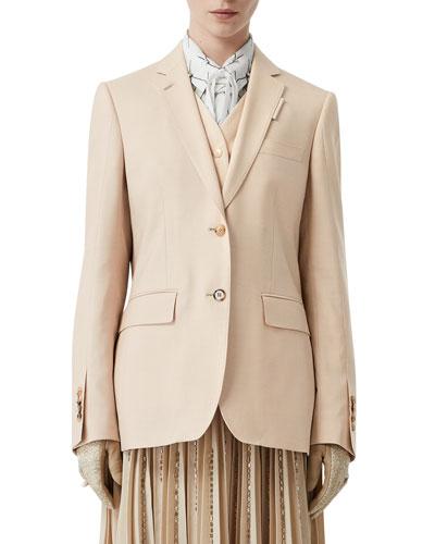 Wool-Silk Blazer Jacket