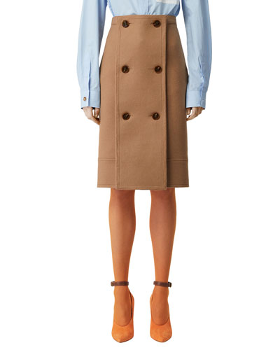 Wool-Cashmere Double-Breasted Slim Skirt